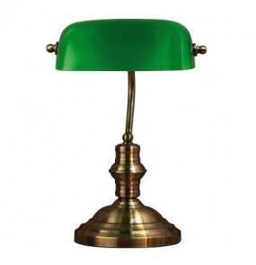 Lampa stołowa Bankers (duża) 105931 Markslojd patynowa lampa stołowa z zielonym kloszem