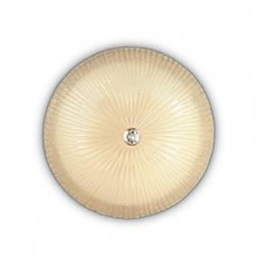 Plafon Shell PL6 140193 Ideal Lux szklana oprawa w kolorze bursztynowym bieli