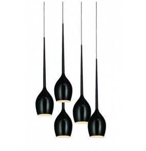 ŻARÓWKI LED GRATIS! Lampa wisząca Izza 5 MD1288A-5BL Shiny Black AZzardo