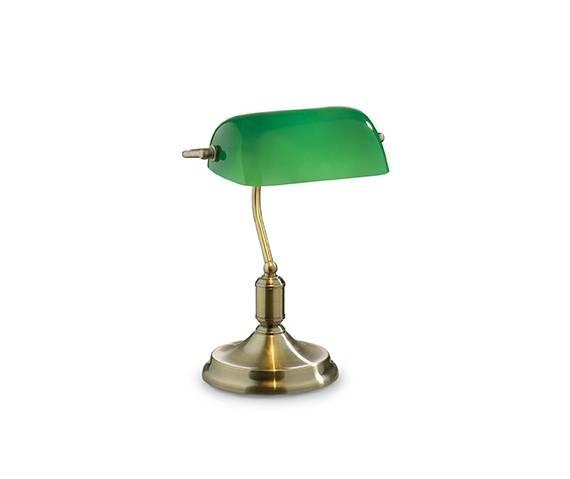 Lampa biurkowa Lawyer TL1 045030 Ideal Lux dekoracyjna oprawa w kolorze patyny i zieleni