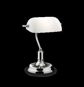 Lampa biurkowa Lawyer TL1 045047 Ideal Lux dekoracyjna oprawa z białym abażurem