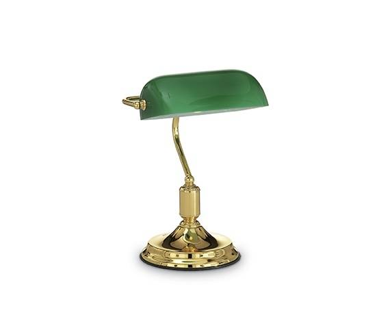 Lampa biurkowa Lawyer TL1 013657 Ideal Lux dekoracyjna oprawa w kolorze zieleni i mosiądzu