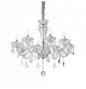 Lampa wisząca Tiepolo SP8 034720 Ideal Lux transparentna oprawa w kryształowym stylu