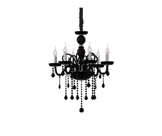 Żyrandol Giudecca SP6 032504 Ideal Lux czarna oprawa w stylu kryształowym