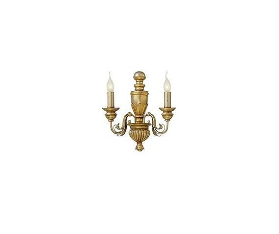 Kinkiet Firenze AP2 020846 Ideal Lux klasyczna oprawa w kolorze antycznego złota