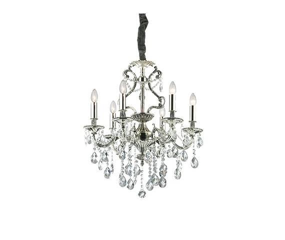 Lampa wisząca Gioconda SP6 044927 Ideal Lux klasyczna oprawa w kolorze srebrnym
