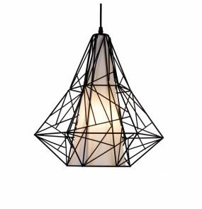 ŻARÓWKA LED GRATIS! Lampa wiszaca Skeleton HP1335-BL  Zuma Line nowoczesna geometryczna oprawa w kolorze czarnym