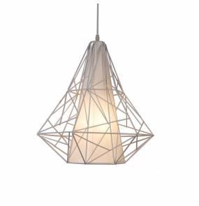 ŻARÓWKA LED GRATIS! Lampa wisząca Skeleton HP1335-WH  Zuma Line nowoczesna geometryczna oprawa w kolorze białym