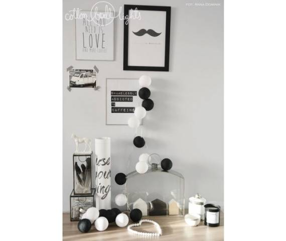 Kolorowe kulki LED kompozycja - Black & White