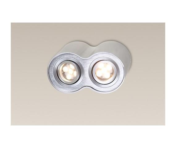 PROMOCJA! Reflektor Plafon Basic Round II C0087 Maxlight podwójna oprawa w kolorze aluminium