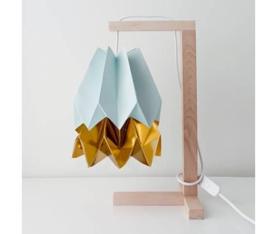 Lampa stołowa Table Mint Blue/Warm Gold Orikomi niebiesko-złota oprawa w minimalistycznym stylu