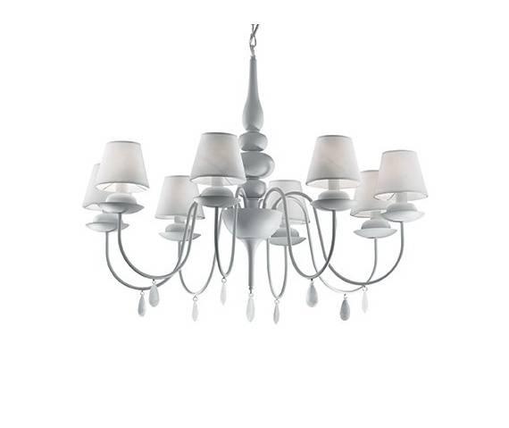 Lampa wisząca Blanche SP8 035574 Ideal Lux biała oprawa w klasycznym stylu