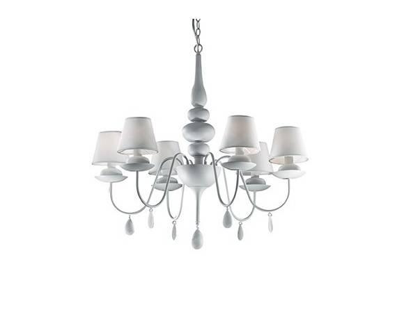 Lampa wisząca Blanche SP6 035581 Ideal Lux biała oprawa w klasycznym stylu