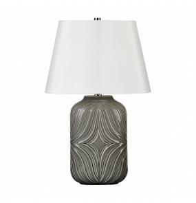 Lampa stołowa Muse Grey Elstead Lighting szara oprawa z dekoracyjnym wzorem