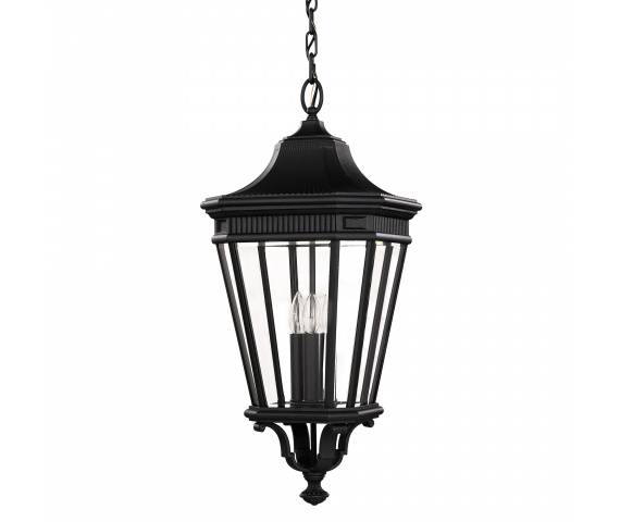 Lampa wisząca Cotswold Lane FE/COTSLN8/L BK Feiss dekoracyjna oprawa w kolorze czarnym