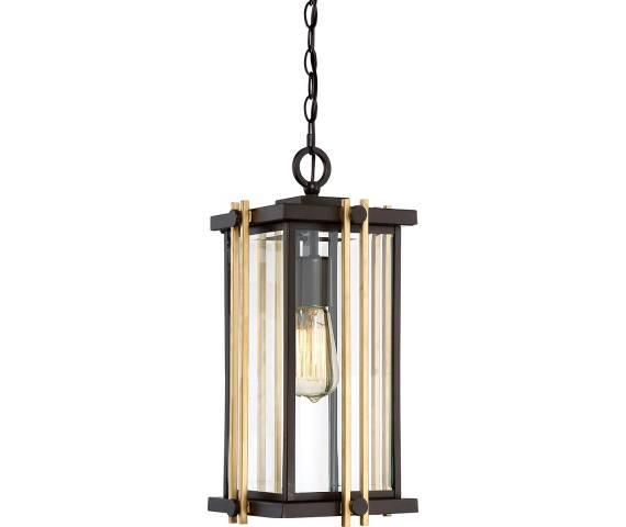 Lampa wisząca Goldenrod QZ/GOLDENROD8/M Quoizel brązowo-złota oprawa zewnętrzna
