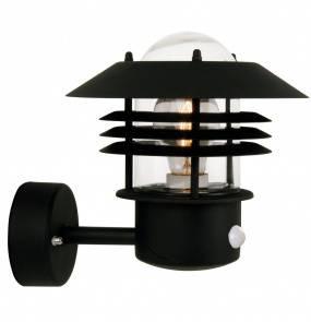 Kinkiet zewnętrzny Vejers z czujnikiem ruchu 25101003 Nordlux czarna oprawa ścienna w nowoczesnym stylu