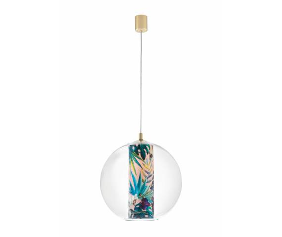Lampa wisząca Feria L 10908116 KASPA transparentna oprawa z motywem kwiatowym