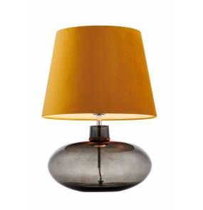 Lampa stołowa Sawa Velvet 41022105 KASPA dymiona oprawa ze złotym abażurem