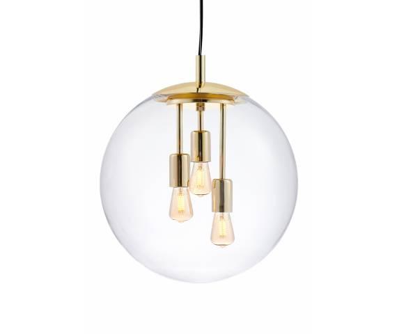 Lampa wisząca Surya 10744305 KASPA złota oprawa ze szklanym kloszem