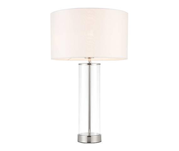 Lampa stołowa Lessina 70600 Endon klasyczna niklowana oprawa z białym abażurem