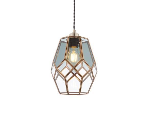Lampa wisząca Ripley 73296 Endon dekoracyjna geometryczna oprawa w kolorze antycznego mosiądzu