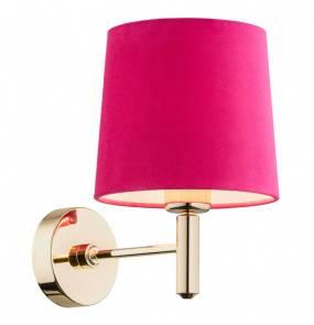 Kinkiet złoty różowy abażur stal tkanina aksamit mosiądz PONTE 4349