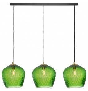 Lampa wisząca VENUS listwa 3 11013313 KASPA zielona oprawa z wykończeniem złota