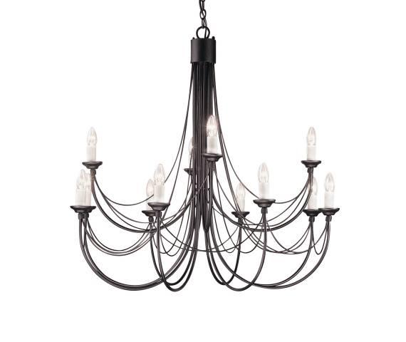 Żyrandol Carisbrooke CB12 BLK Elstead Lighting czarna oprawa w dekoracyjnym stylu