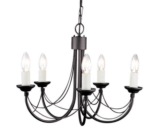 Żyrandol Carisbrooke CB5 BLK Elstead Lighting czarna oprawa w dekoracyjnym stylu