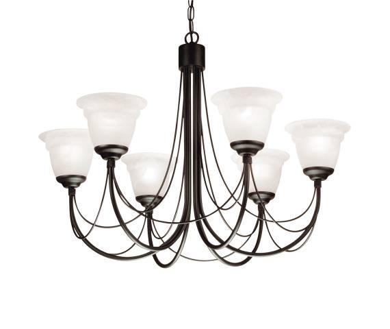 Żyrandol Carisbrooke CB6 BLK Elstead Lighting czarna oprawa w dekoracyjnym stylu