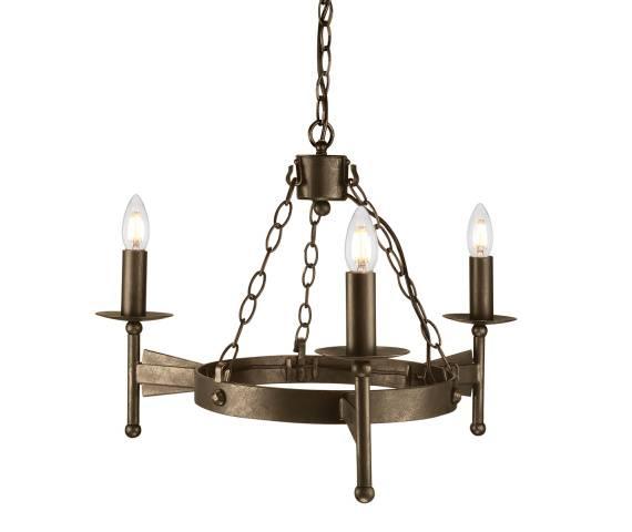 Lampa wisząca Cromwell CW3 Elstead Lighting brązowa oprawa w klasycznym stylu