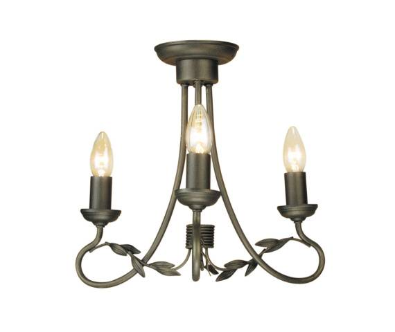 Lampa wisząca Olivia OV3 BLK/GLD Elstead Lighting czarno-złota oprawa w rustykalnym stylu