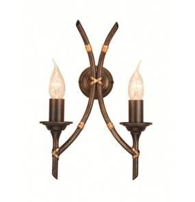Kinkiet podwójny Bamboo BB2/B BRZ Elstead Lighting brązowa oprawa w dekoracyjnym stylu