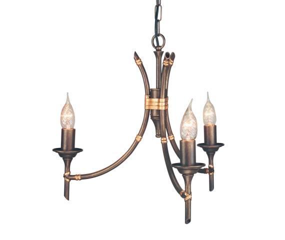 Lampa wisząca Bamboo 3 BB3 BRZ Elstead Lighting brązowa oprawa w dekoracyjnym stylu