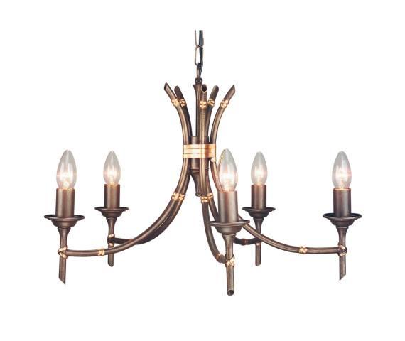 Żyrandol Bamboo 5 BB5 BRZ Elstead Lighting brązowa oprawa w dekoracyjnym stylu