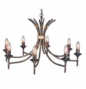 Żyrandol Bamboo 8 BB8 BRZ Elstead Lighting brązowa oprawa w dekoracyjnym stylu