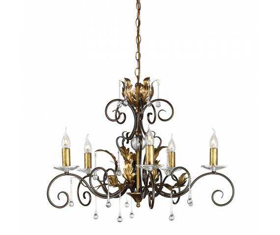 Żyrandol Amarilli AML5 BR/GLD Elstead Lighting brązowo-złota oprawa w klasycznym stylu