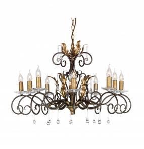 Żyrandol Amarilli AML10 BR/GLD Elstead Lighting brązowo-złota oprawa w klasycznym stylu