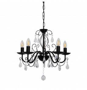 Lampa wisząca GRANDE P19106-5 E14 Zuma Line czarna kryształ glamour