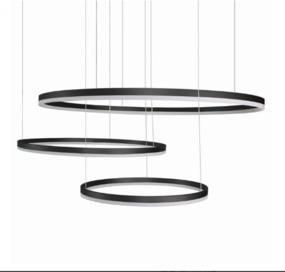 Lampa wisząca HALO 100 + 80 + 60 AZ4707  LED Azzardo nowoczesna oprawa w kolorze czarnym