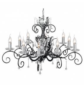 Żyrandol Amarilli AML10 BLK/SIL Elstead Lighting czarno-srebrna oprawa w kalsycznym stylu