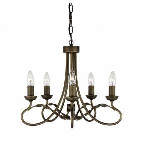 Żyrandol Olivia OV5 BLK/GLD Elstead Lighting czarno-złota oprawa w rustykalnym stylu