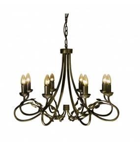 Żyrandol Olivia OV8 BLK/GLD Elstead Lighting czarno-złota oprawa w rustykalnym stylu